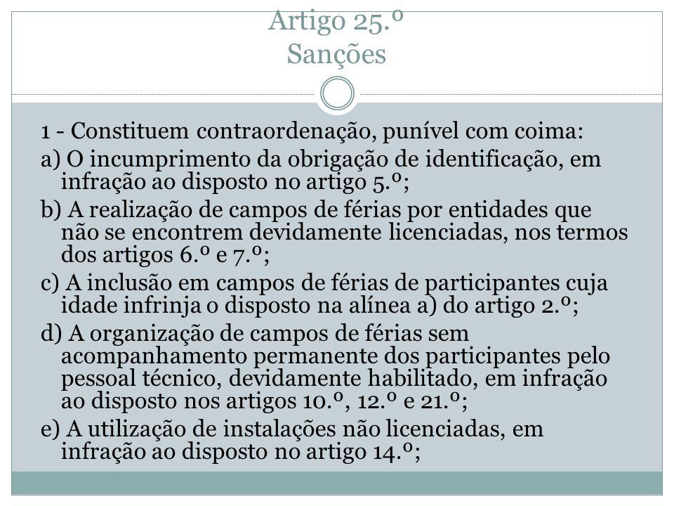 Artigo 25.º Sanções