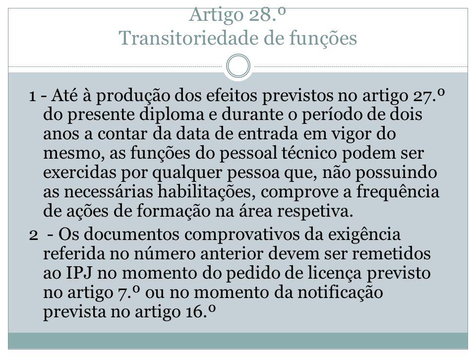 Artigo 28.º Transitoriedade de funções