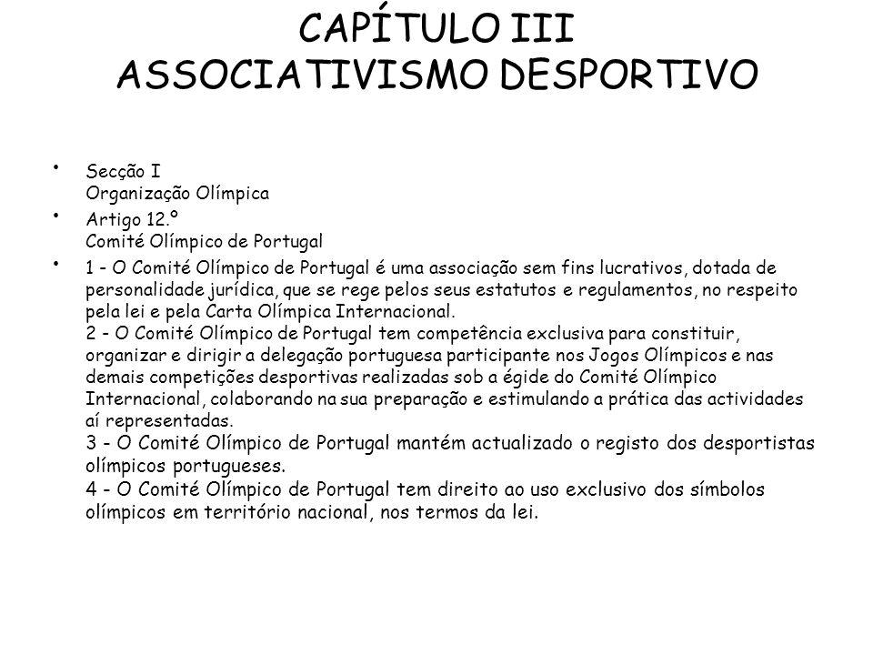 CAPÍTULO III ASSOCIATIVISMO DESPORTIVO