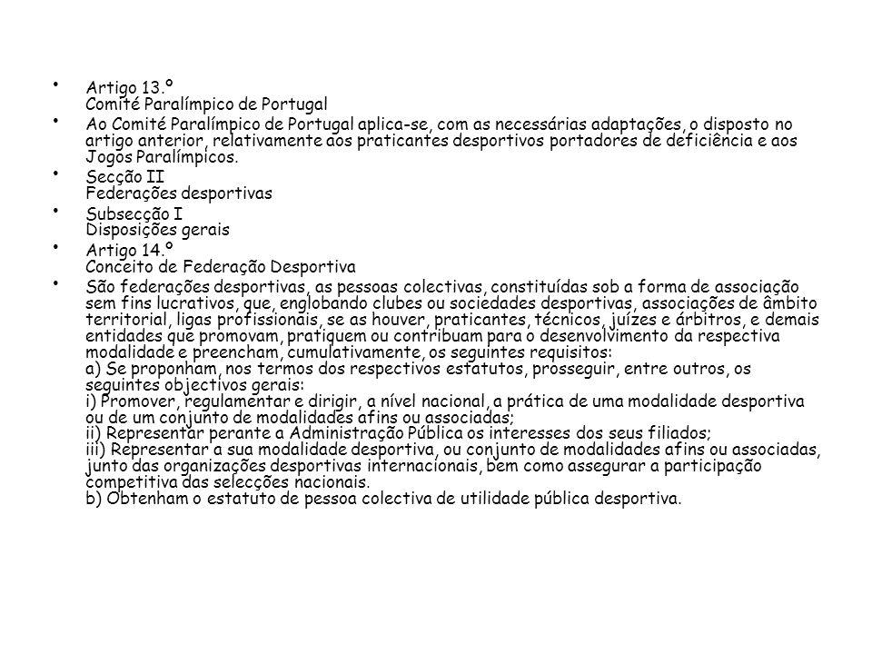 Artigo 13.º Comité Paralímpico de Portugal