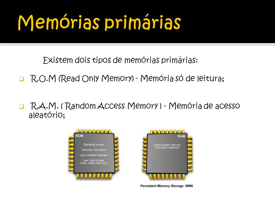 Memórias primárias Existem dois tipos de memórias primárias: