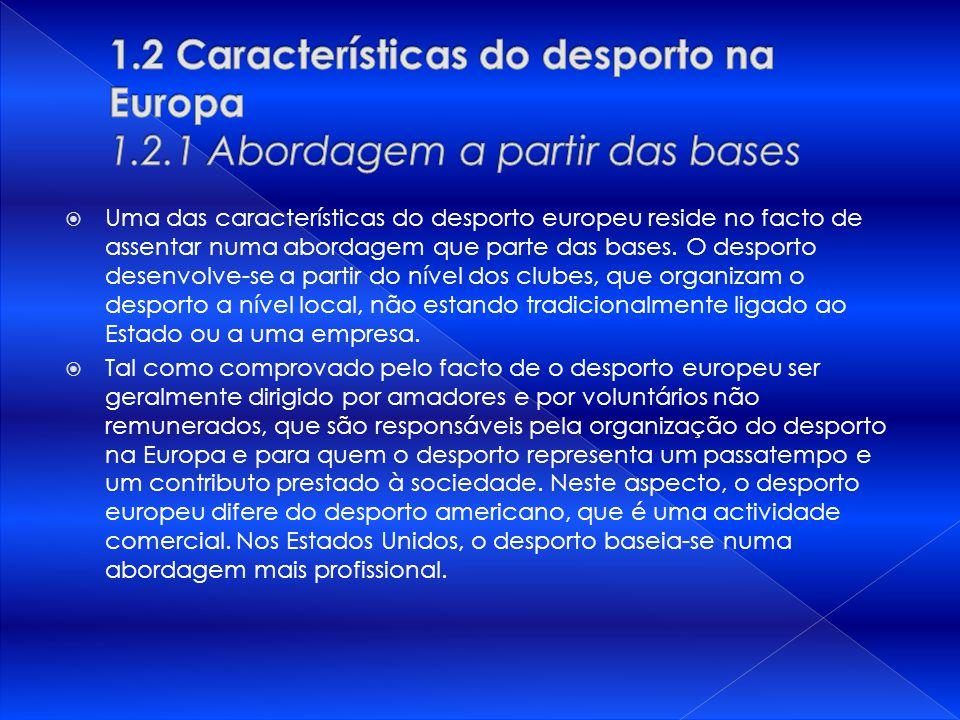 1. 2 Características do desporto na Europa 1. 2