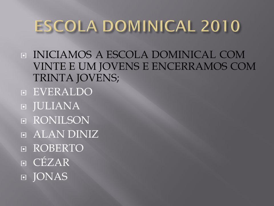 ESCOLA DOMINICAL 2010 INICIAMOS A ESCOLA DOMINICAL COM VINTE E UM JOVENS E ENCERRAMOS COM TRINTA JOVENS;