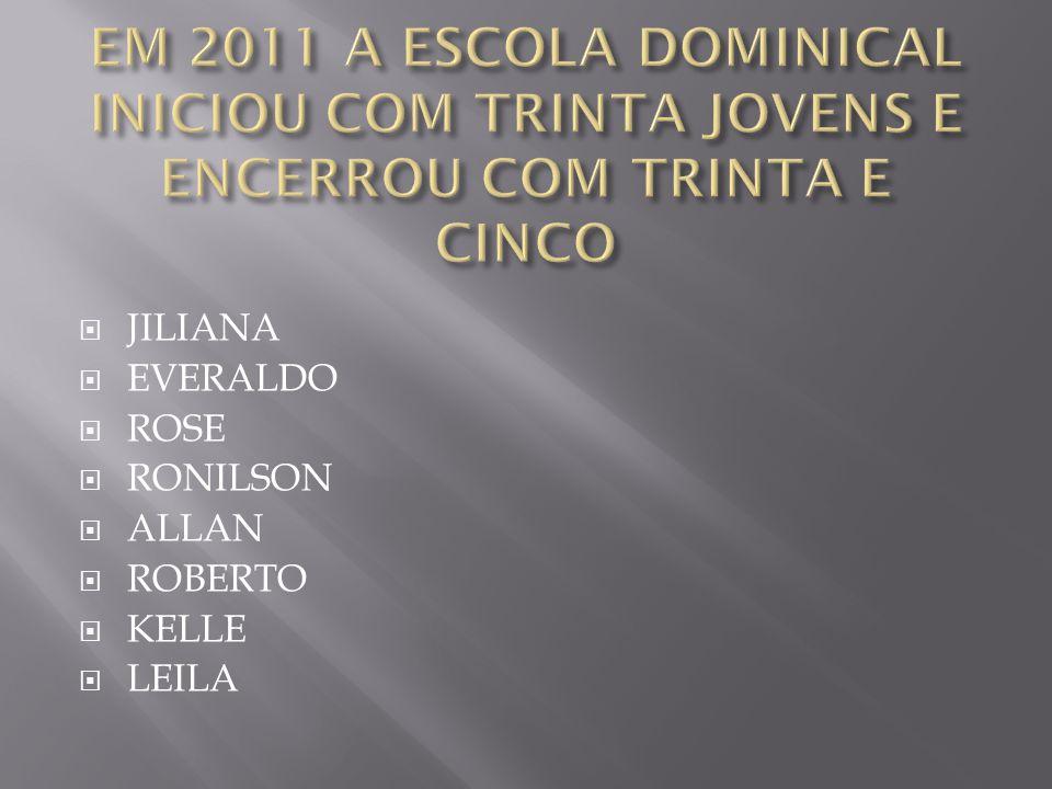 EM 2011 A ESCOLA DOMINICAL INICIOU COM TRINTA JOVENS E ENCERROU COM TRINTA E CINCO