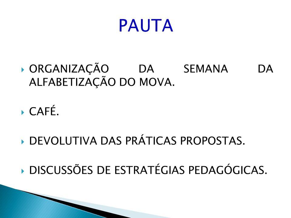 PAUTA ORGANIZAÇÃO DA SEMANA DA ALFABETIZAÇÃO DO MOVA. CAFÉ.