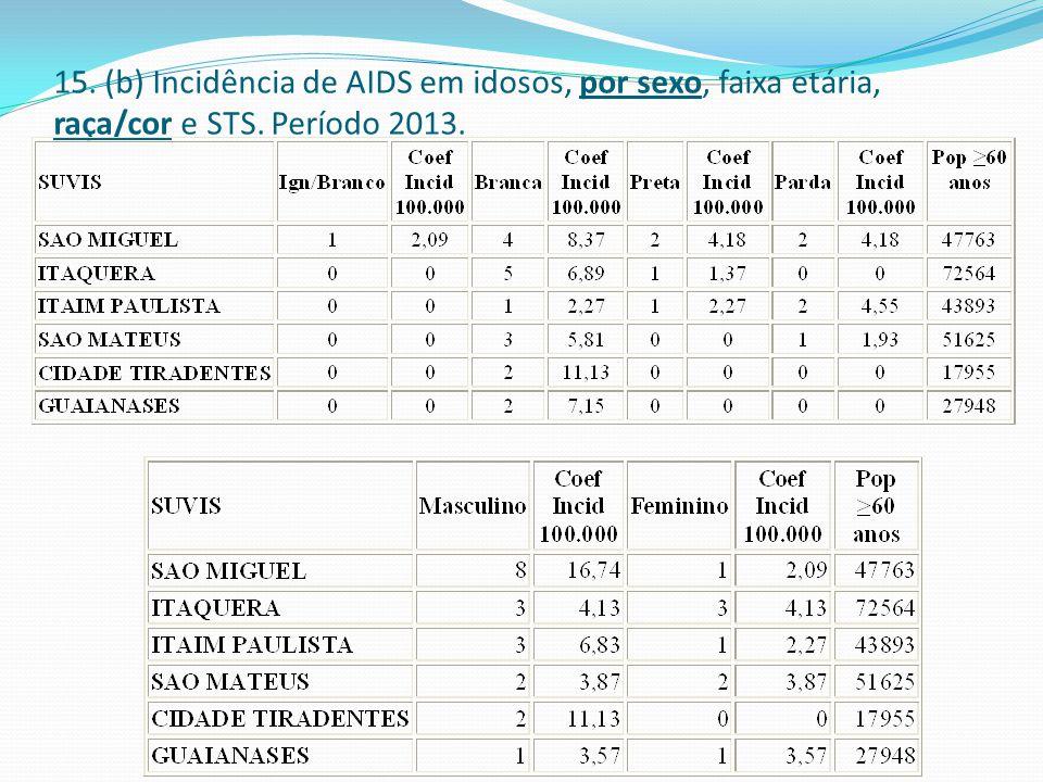 15. (b) Incidência de AIDS em idosos, por sexo, faixa etária, raça/cor e STS. Período 2013.