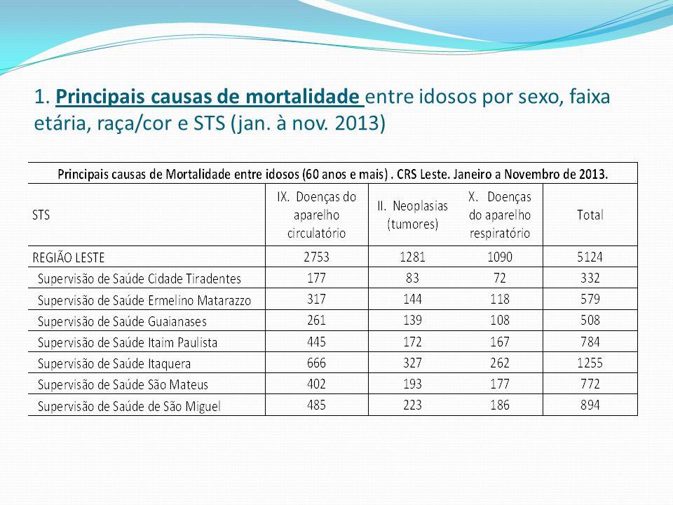 1. Principais causas de mortalidade entre idosos por sexo, faixa etária, raça/cor e STS (jan.