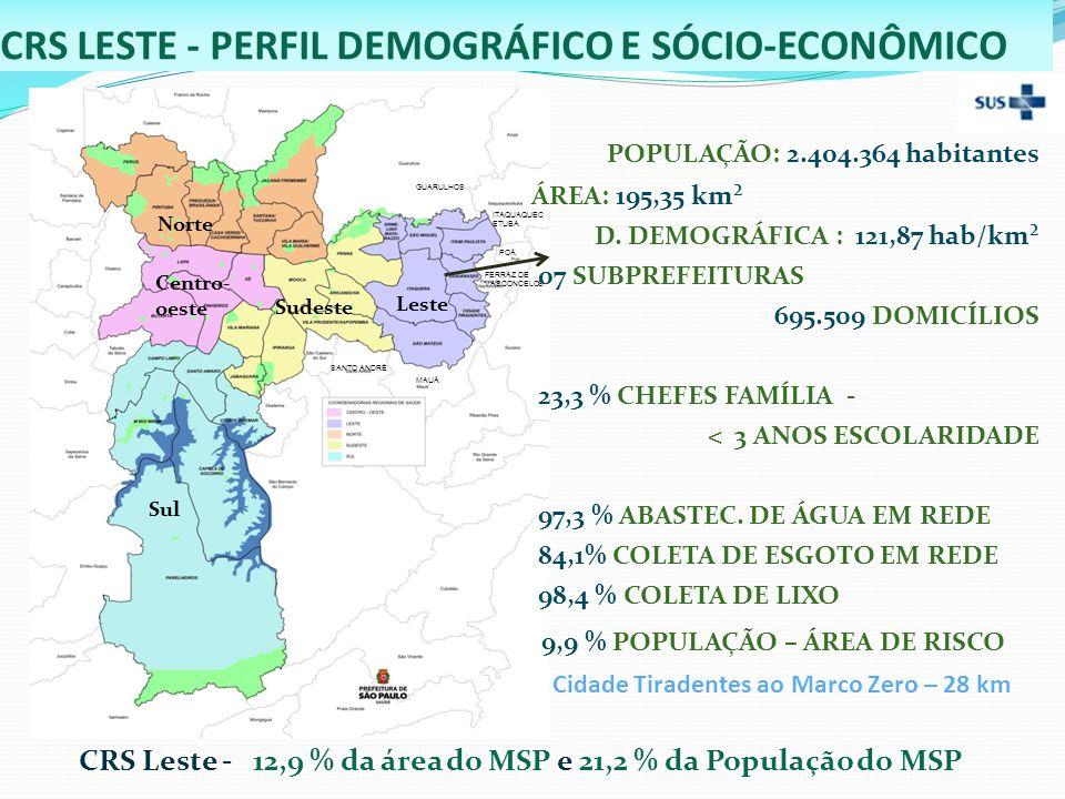 CRS LESTE - PERFIL DEMOGRÁFICO E SÓCIO-ECONÔMICO