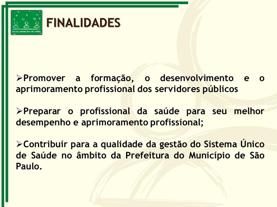 FINALIDADES Promover a formação, o desenvolvimento e o aprimoramento profissional dos servidores públicos.