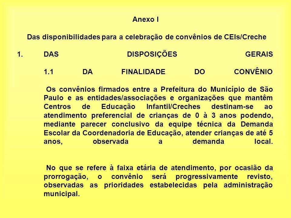 Anexo I Das disponibilidades para a celebração de convênios de CEIs/Creche