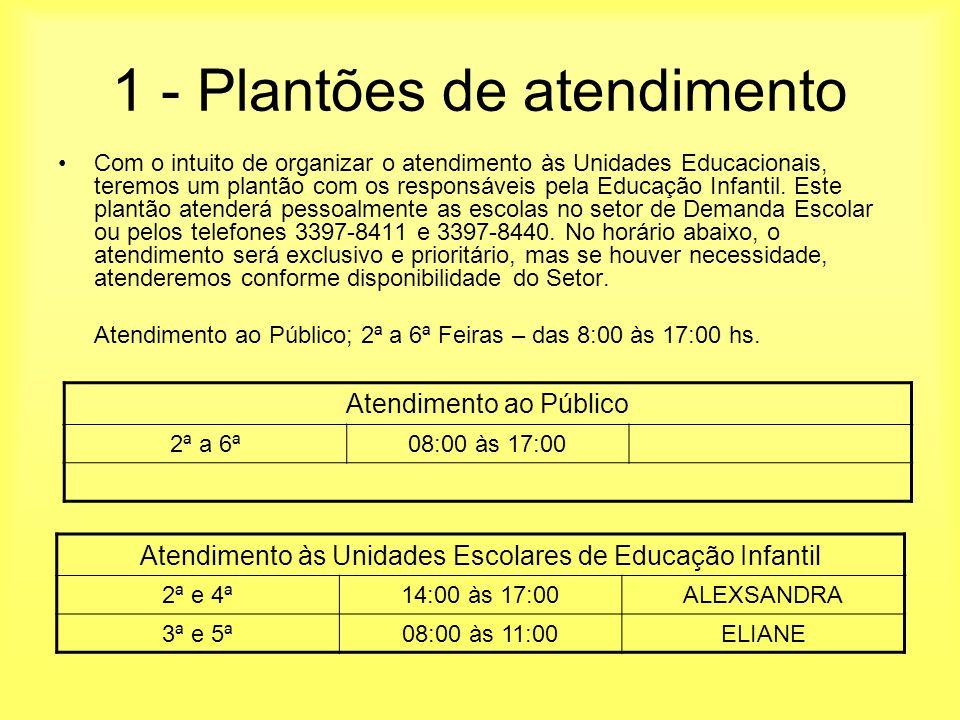 1 - Plantões de atendimento