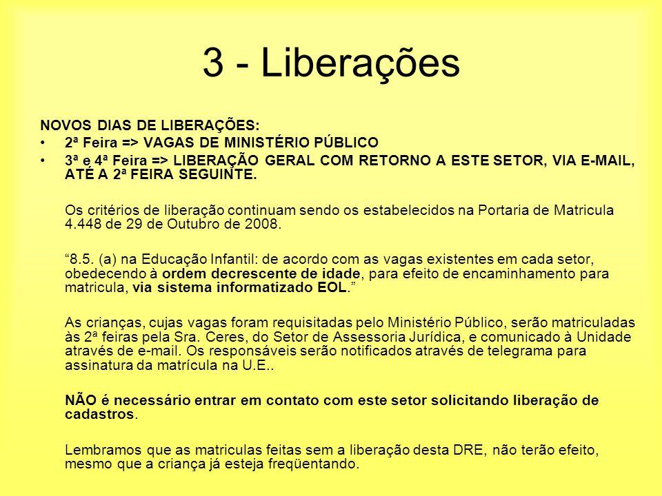 3 - Liberações NOVOS DIAS DE LIBERAÇÕES: