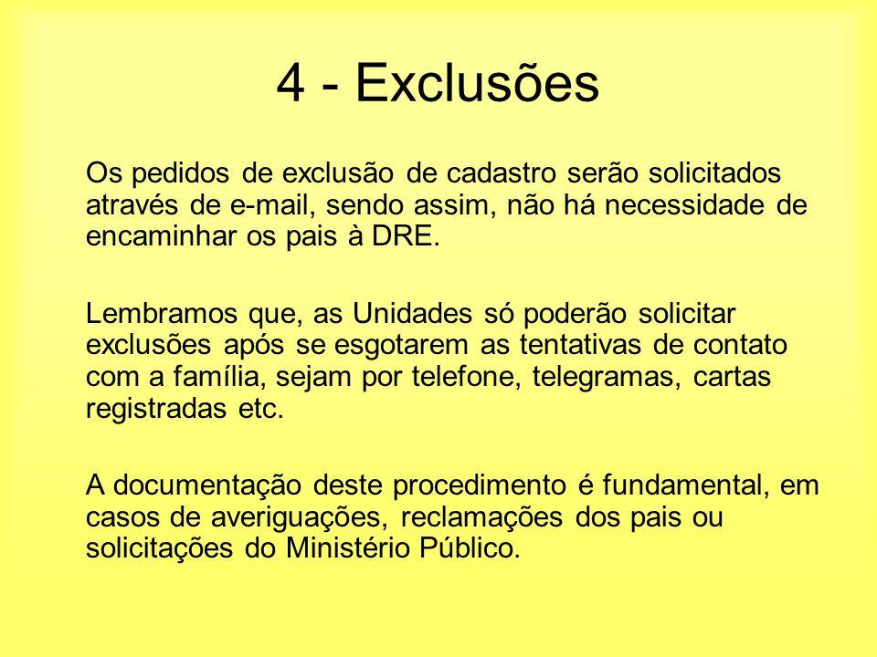 4 - Exclusões Os pedidos de exclusão de cadastro serão solicitados através de e-mail, sendo assim, não há necessidade de encaminhar os pais à DRE.