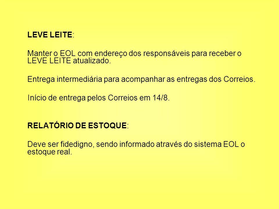 LEVE LEITE: Manter o EOL com endereço dos responsáveis para receber o LEVE LEITE atualizado.