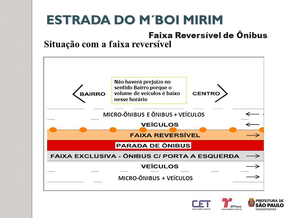 ESTRADA DO M´BOI MIRIM Situação com a faixa reversível