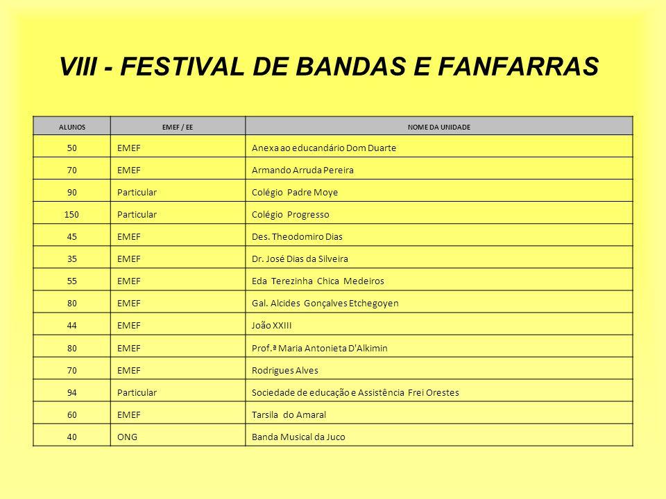 VIII - FESTIVAL DE BANDAS E FANFARRAS