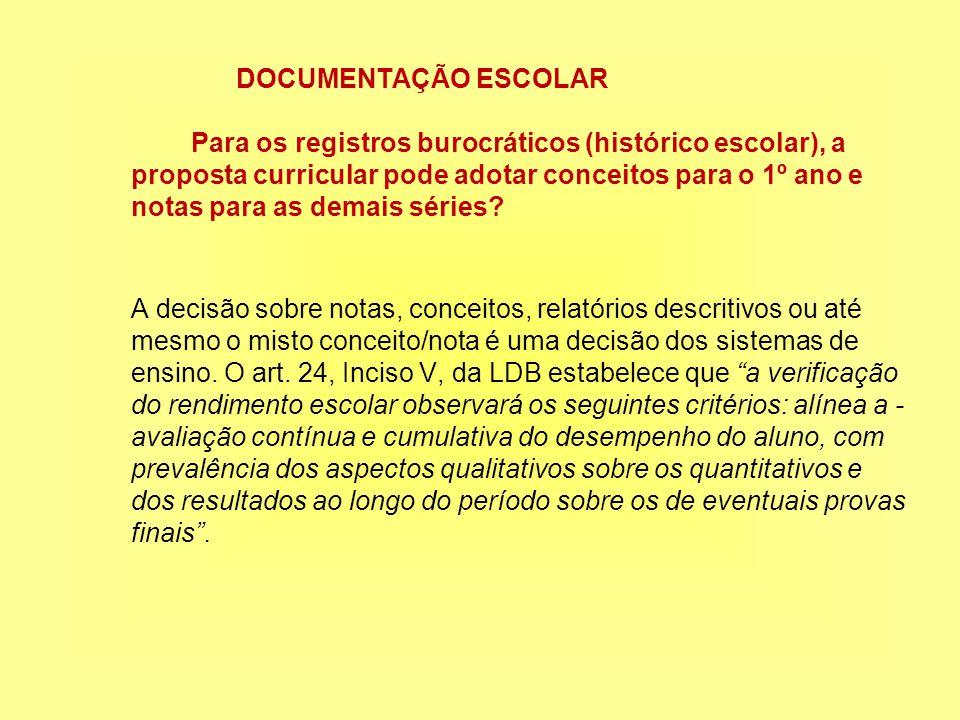 DOCUMENTAÇÃO ESCOLAR Para os registros burocráticos (histórico escolar), a proposta curricular pode adotar conceitos para o 1º ano e notas para as demais séries