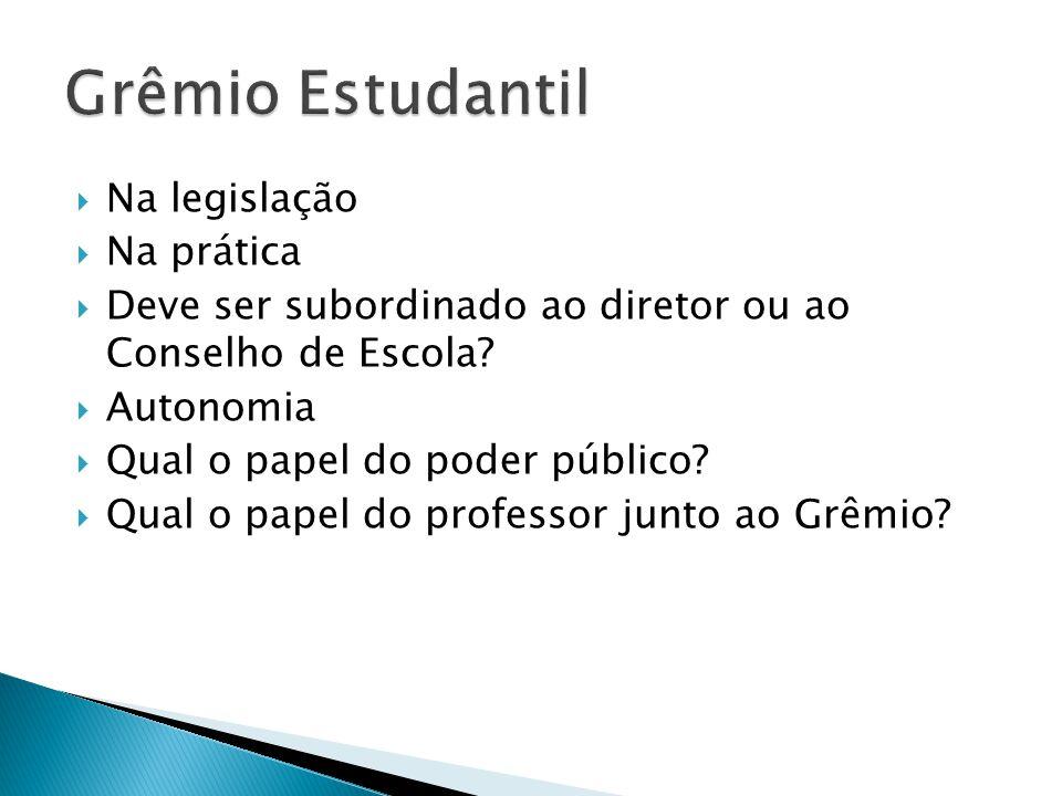 Grêmio Estudantil Na legislação Na prática