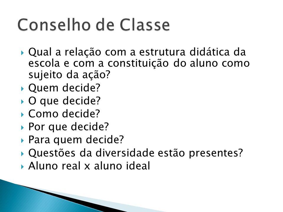 Conselho de Classe Qual a relação com a estrutura didática da escola e com a constituição do aluno como sujeito da ação