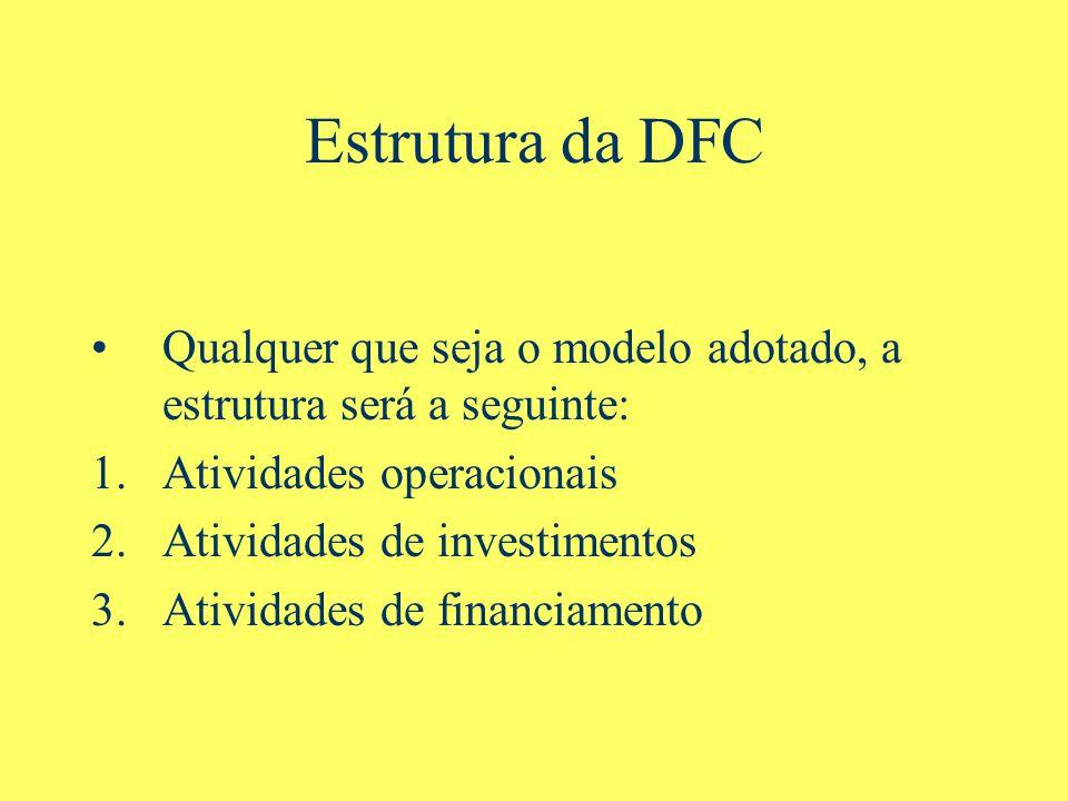 Estrutura da DFC Qualquer que seja o modelo adotado, a estrutura será a seguinte: Atividades operacionais.