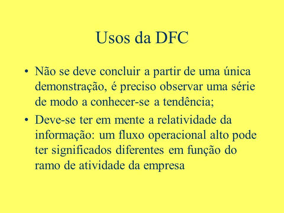 Usos da DFC Não se deve concluir a partir de uma única demonstração, é preciso observar uma série de modo a conhecer-se a tendência;