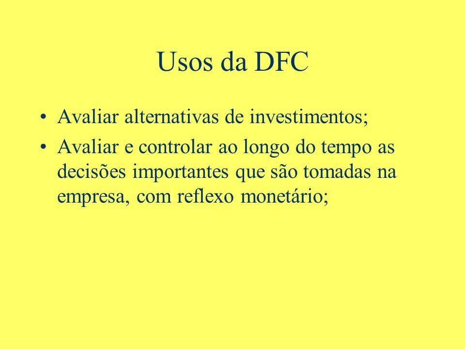 Usos da DFC Avaliar alternativas de investimentos;