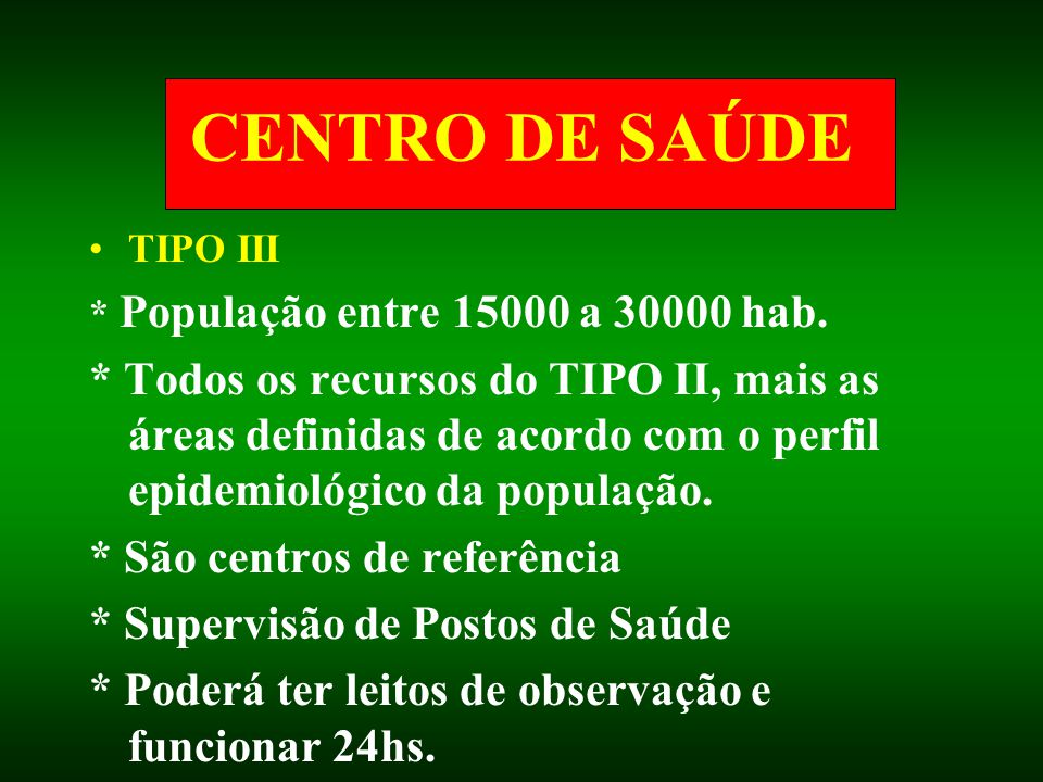 CENTRO DE SAÚDE TIPO III. * População entre 15000 a 30000 hab.