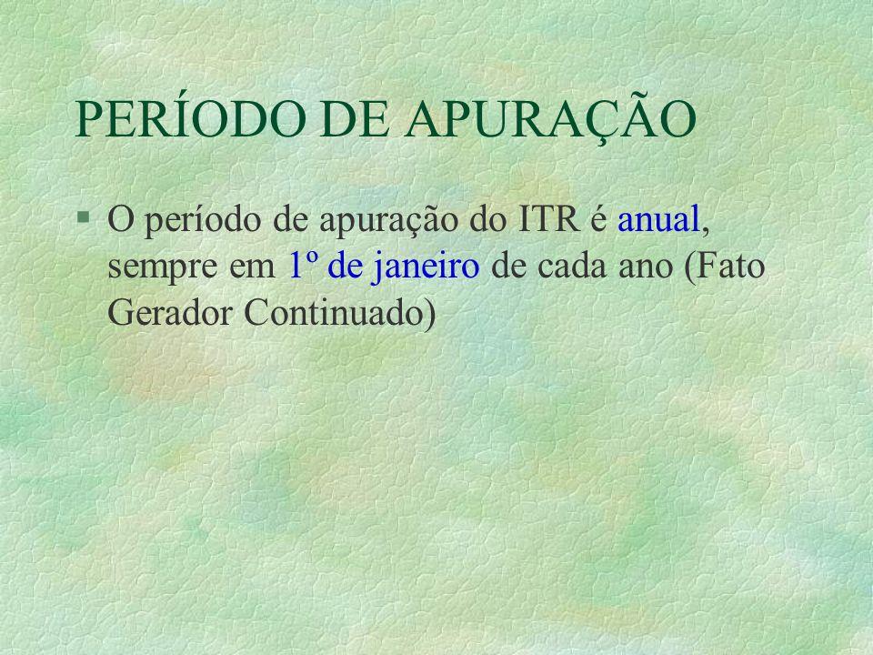 PERÍODO DE APURAÇÃO O período de apuração do ITR é anual, sempre em 1º de janeiro de cada ano (Fato Gerador Continuado)