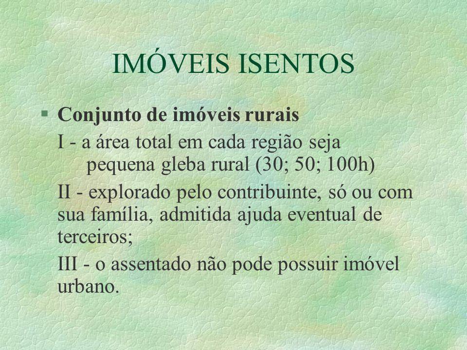 IMÓVEIS ISENTOS Conjunto de imóveis rurais