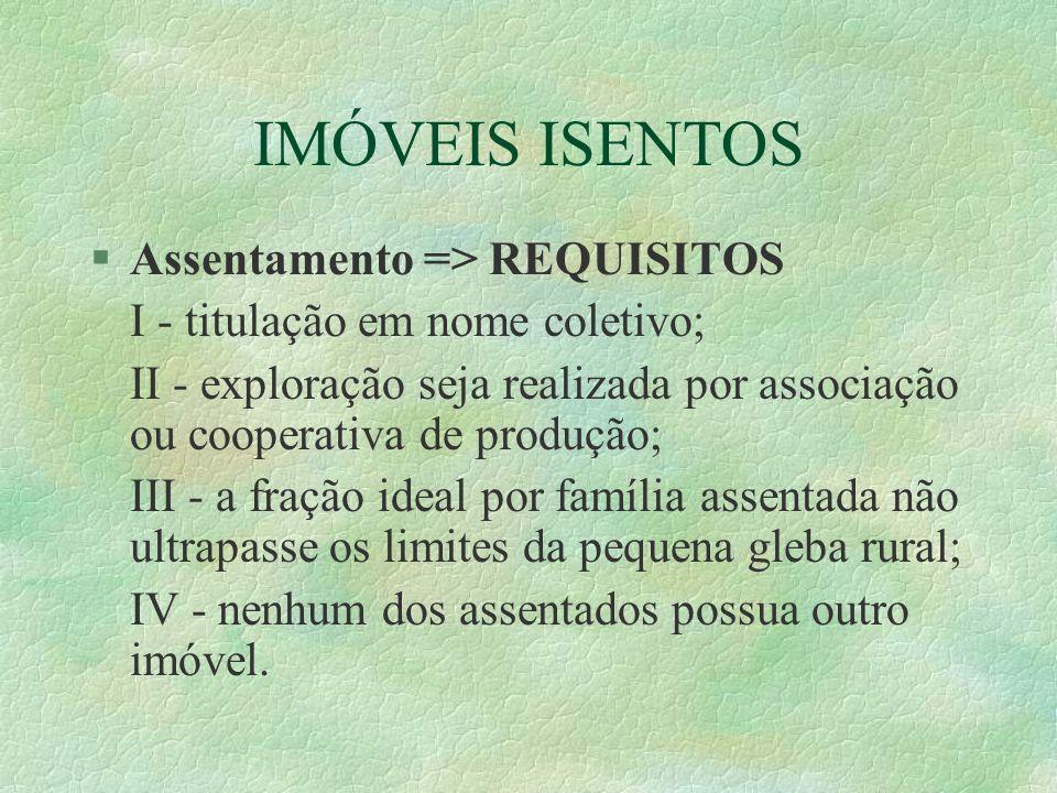 IMÓVEIS ISENTOS Assentamento => REQUISITOS
