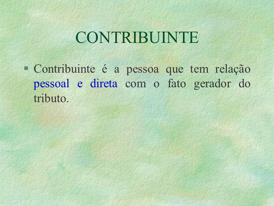 CONTRIBUINTE Contribuinte é a pessoa que tem relação pessoal e direta com o fato gerador do tributo.