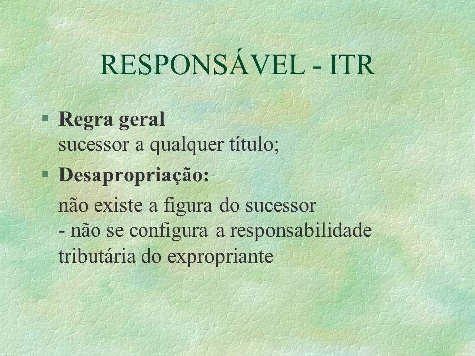 RESPONSÁVEL - ITR Regra geral sucessor a qualquer título;