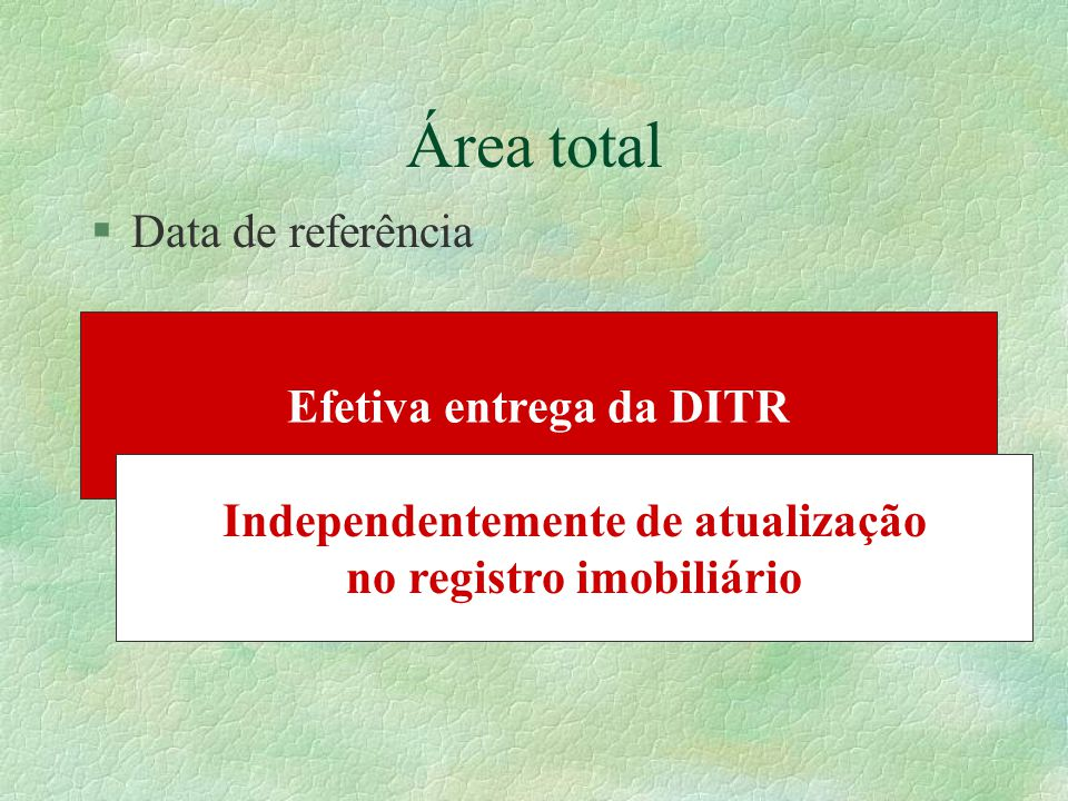 Área total Data de referência Efetiva entrega da DITR