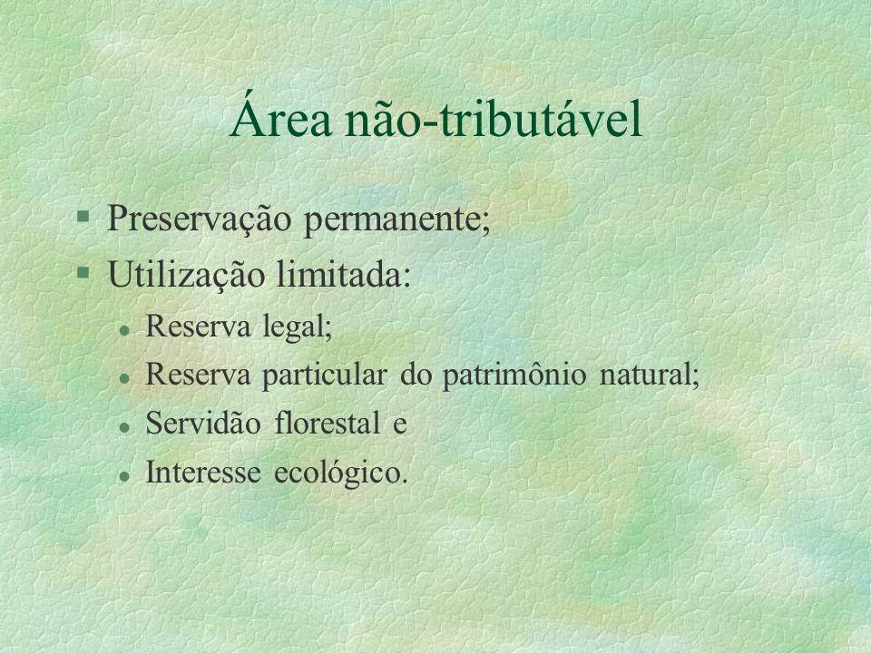 Área não-tributável Preservação permanente; Utilização limitada: