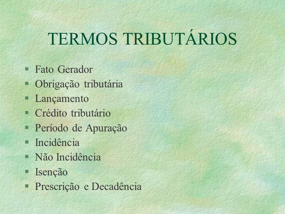 TERMOS TRIBUTÁRIOS Fato Gerador Obrigação tributária Lançamento