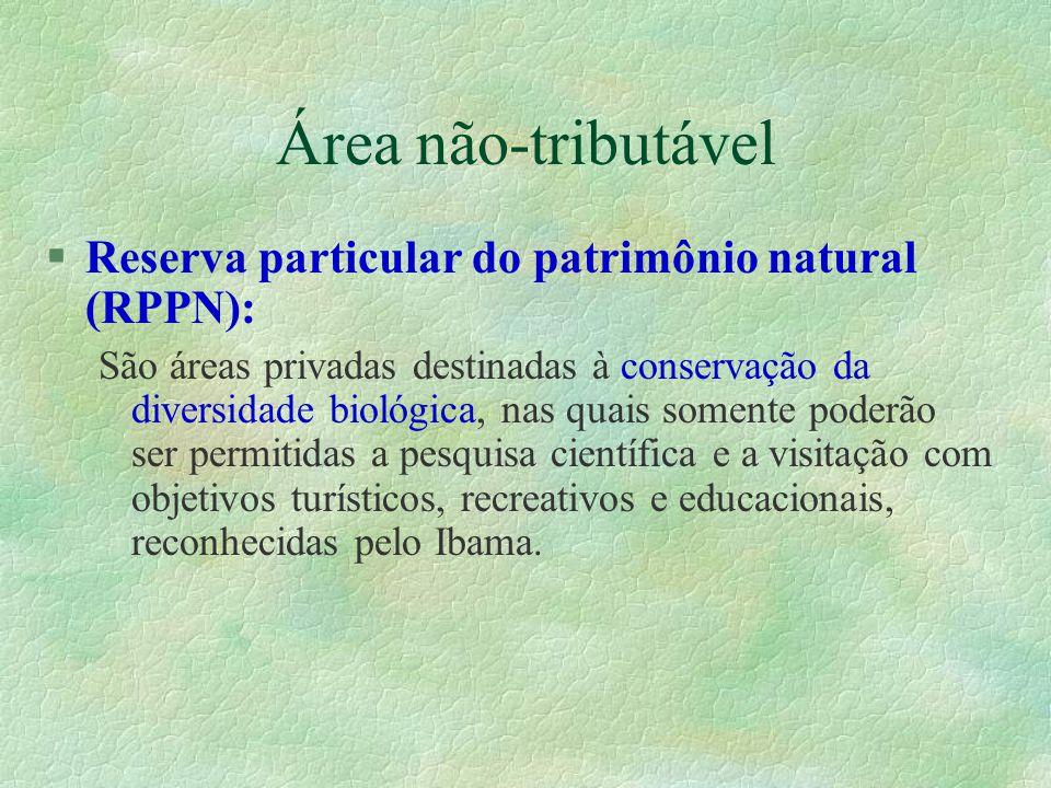 Área não-tributável Reserva particular do patrimônio natural (RPPN):