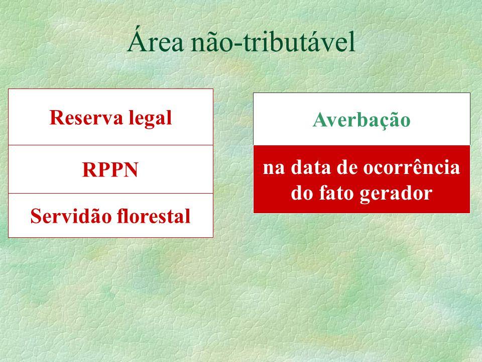 Área não-tributável Reserva legal Averbação RPPN na data de ocorrência