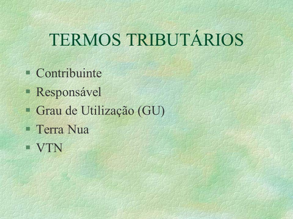 TERMOS TRIBUTÁRIOS Contribuinte Responsável Grau de Utilização (GU)