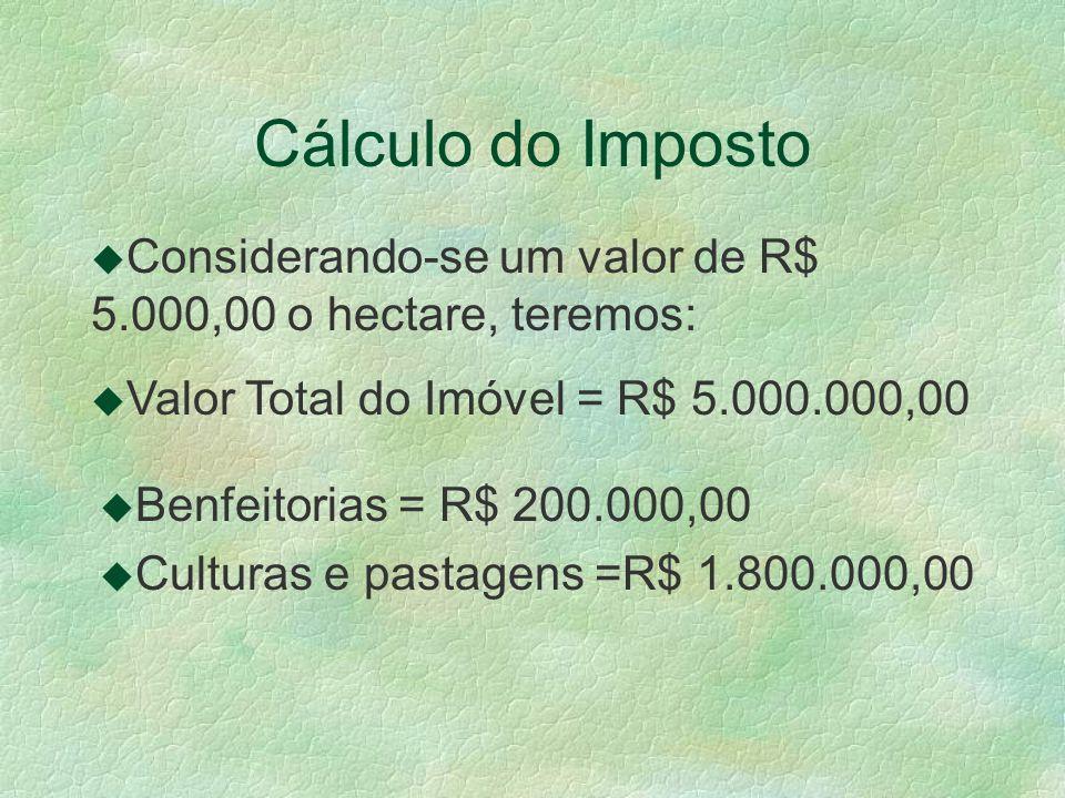 Cálculo do Imposto Considerando-se um valor de R$ 5.000,00 o hectare, teremos: Valor Total do Imóvel = R$ 5.000.000,00.