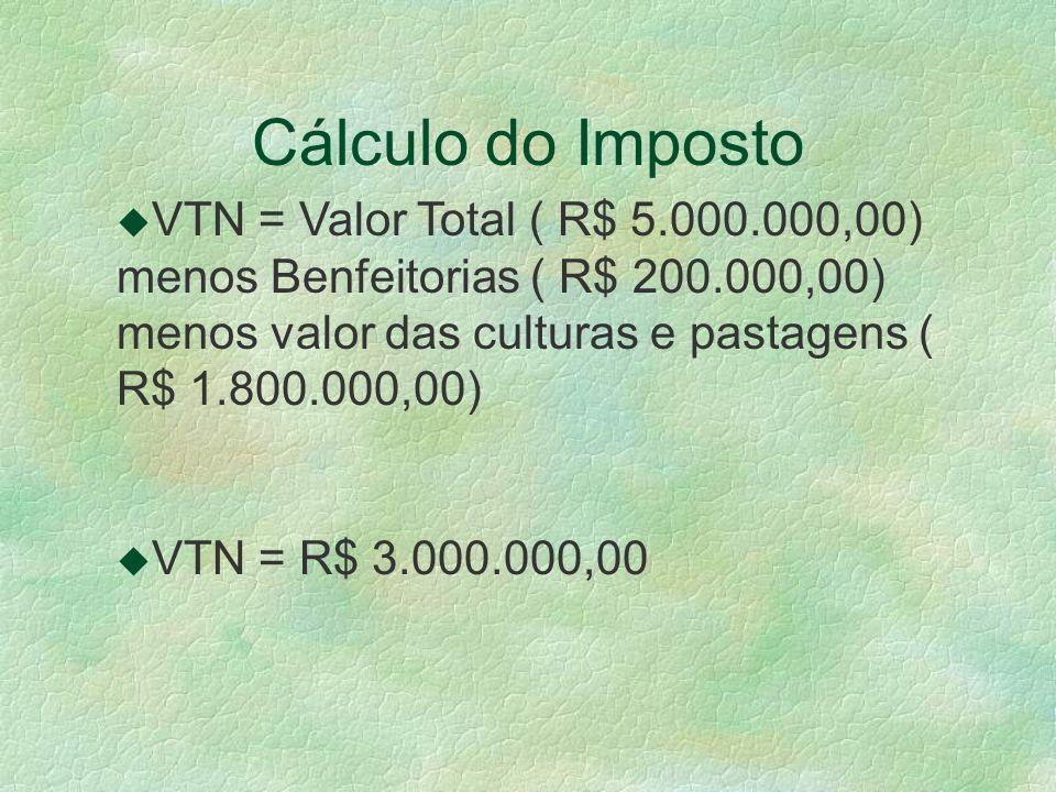 Cálculo do Imposto VTN = Valor Total ( R$ 5.000.000,00) menos Benfeitorias ( R$ 200.000,00) menos valor das culturas e pastagens ( R$ 1.800.000,00)