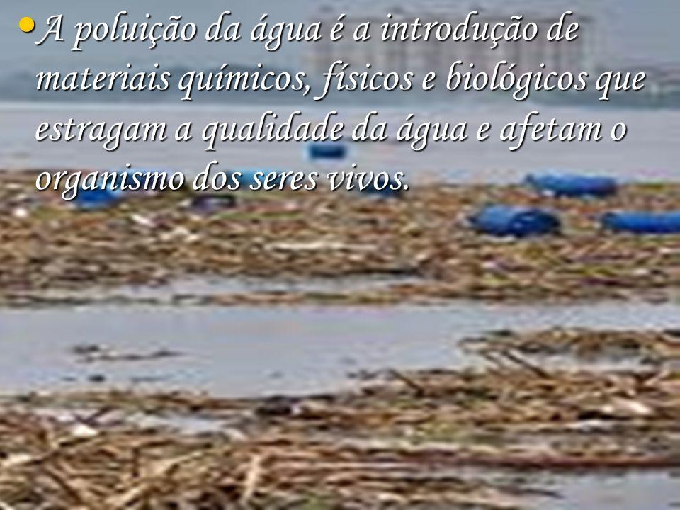 A poluição da água é a introdução de materiais químicos, físicos e biológicos que estragam a qualidade da água e afetam o organismo dos seres vivos.