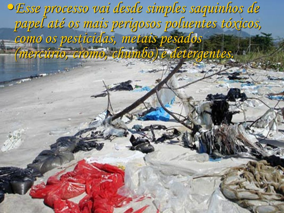 Esse processo vai desde simples saquinhos de papel até os mais perigosos poluentes tóxicos, como os pesticidas, metais pesados (mercúrio, cromo, chumbo) e detergentes.