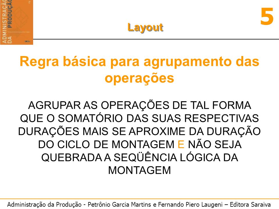 Regra básica para agrupamento das operações