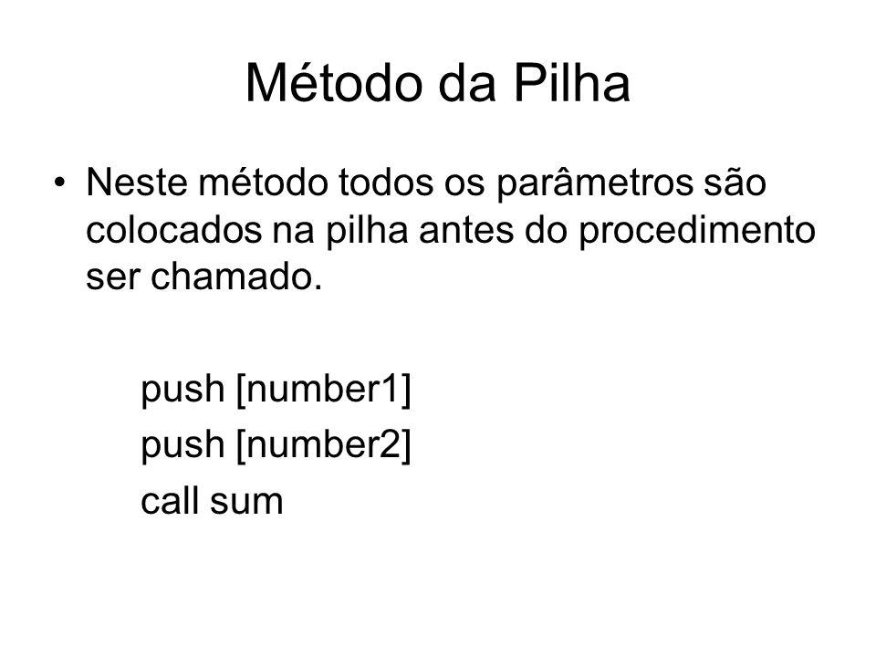 Método da Pilha Neste método todos os parâmetros são colocados na pilha antes do procedimento ser chamado.