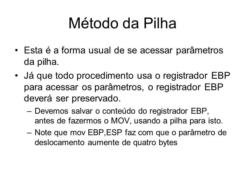 Método da Pilha Esta é a forma usual de se acessar parâmetros da pilha.