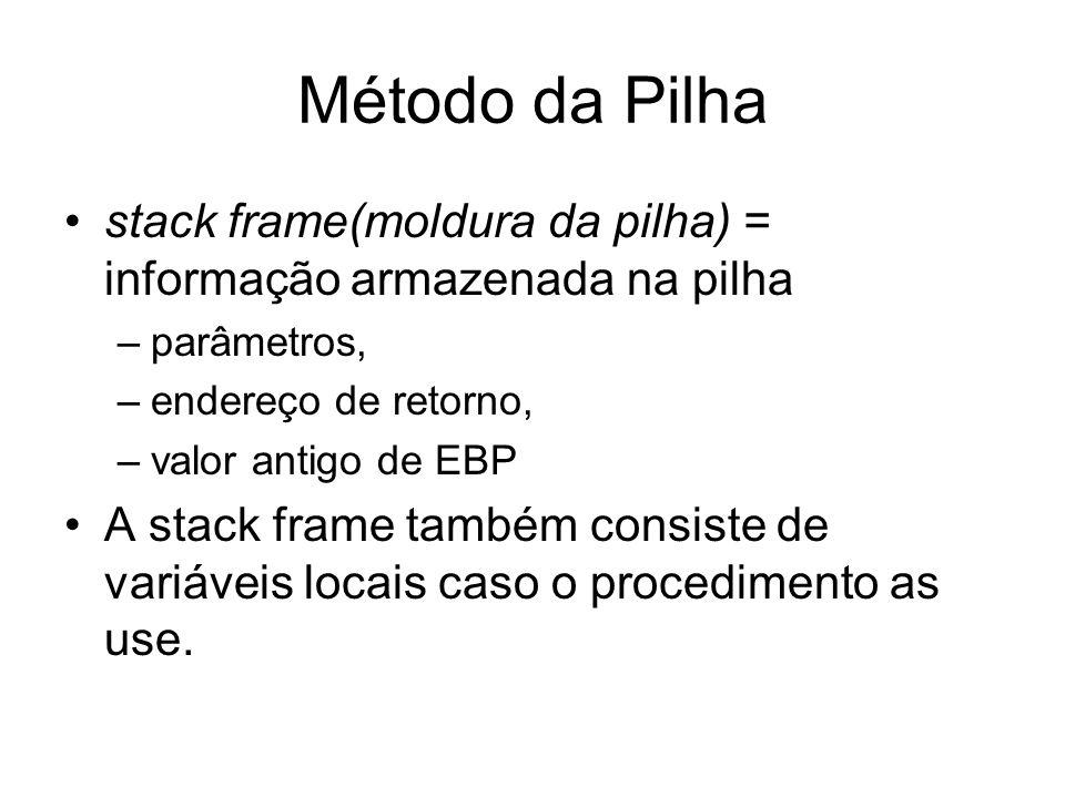 Método da Pilha stack frame(moldura da pilha) = informação armazenada na pilha. parâmetros, endereço de retorno,