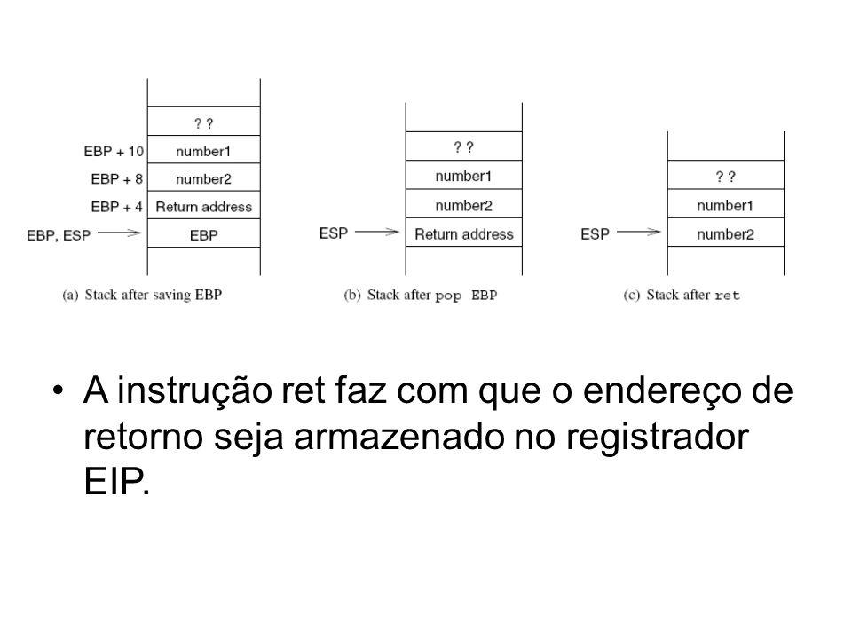 A instrução ret faz com que o endereço de retorno seja armazenado no registrador EIP.