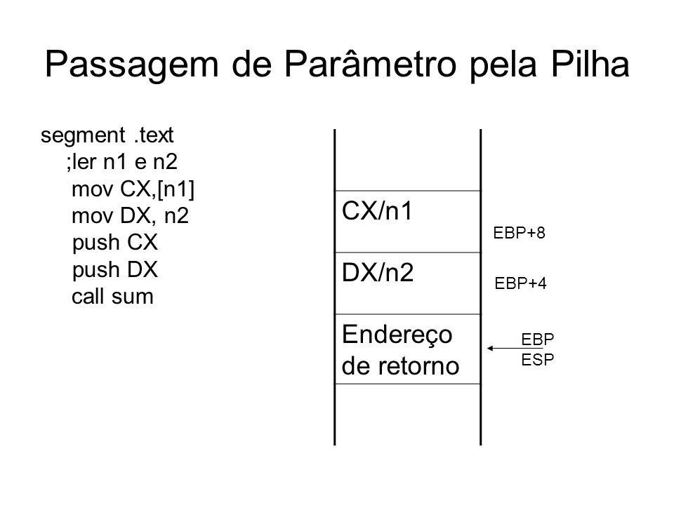 Passagem de Parâmetro pela Pilha