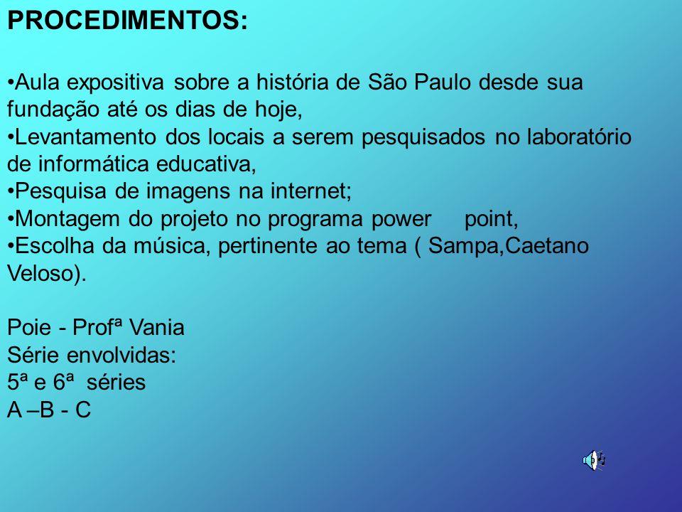 PROCEDIMENTOS: Aula expositiva sobre a história de São Paulo desde sua fundação até os dias de hoje,