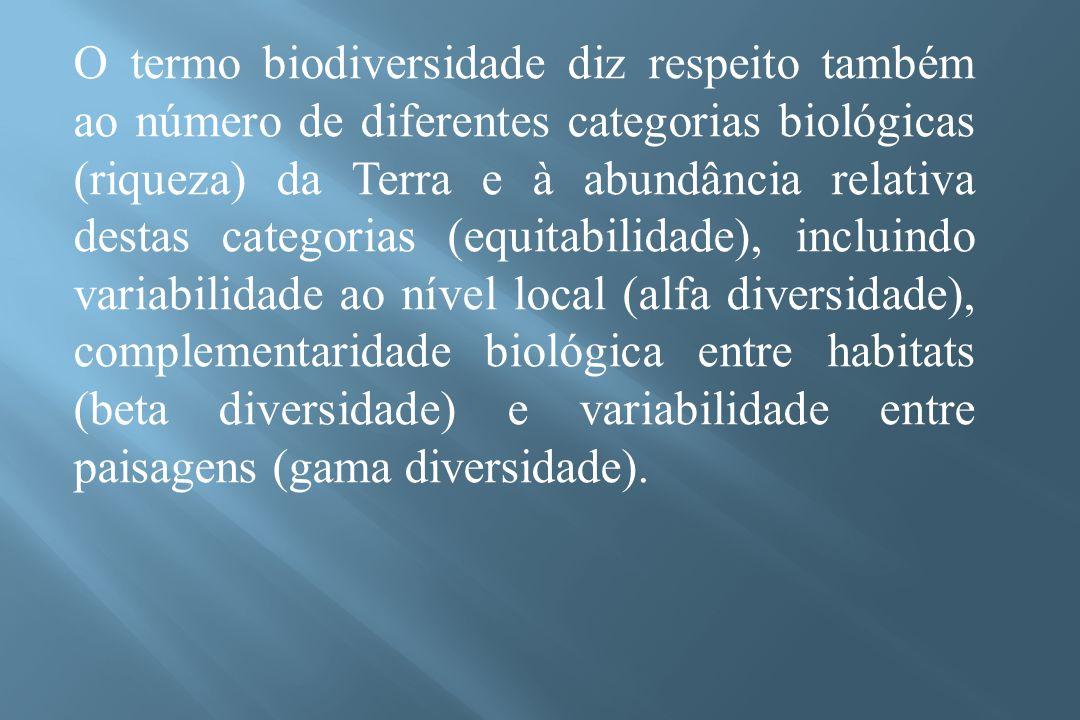 O termo biodiversidade diz respeito também ao número de diferentes categorias biológicas (riqueza) da Terra e à abundância relativa destas categorias (equitabilidade), incluindo variabilidade ao nível local (alfa diversidade), complementaridade biológica entre habitats (beta diversidade) e variabilidade entre paisagens (gama diversidade).